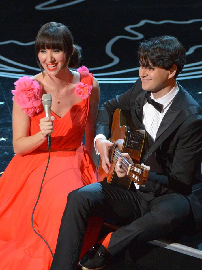 Karen O, left, and Ezra Koenig perform during the Oscars at the Dolby Theatre. (AP)