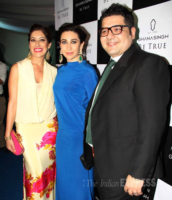 Karisma poses for a picture along with Maheka Mirpuri and Gautam Ghanasingh. (Photo: Varinder Chawla)