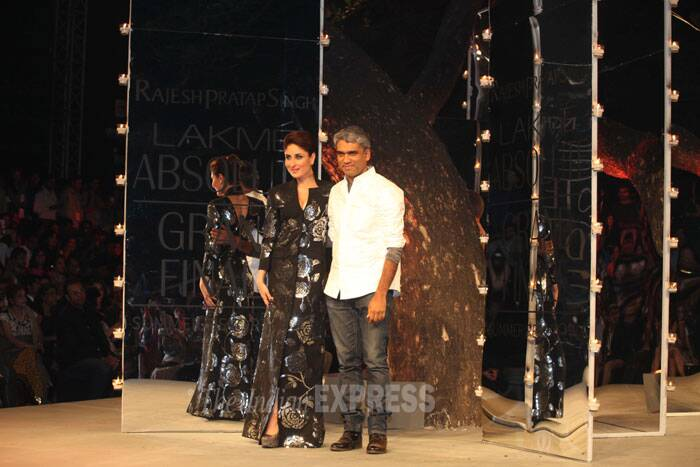 Designer Rajesh Pratap, who worked the grand finale of Lakme Fashion Week 2014, presented Bollywood fashionista Kareena Kapoor Khan in a shimmering avatar. (IE Photo: Dilip Kagda)