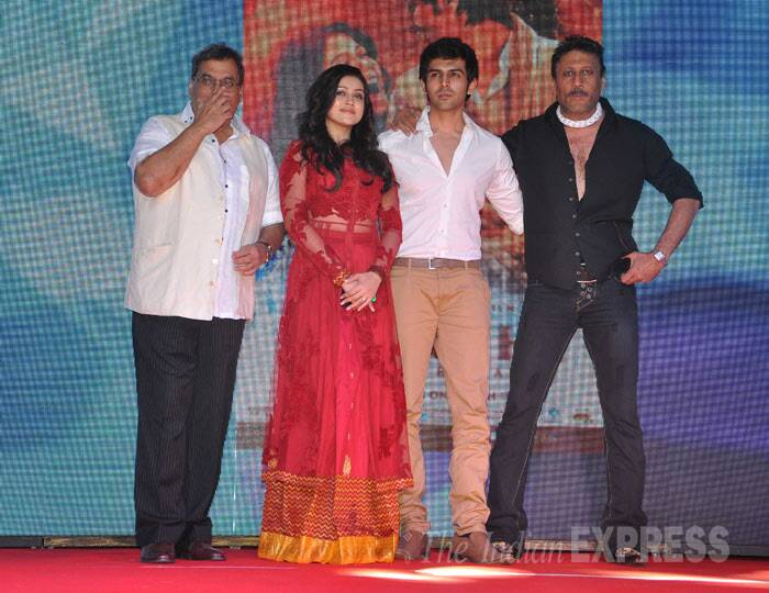 The handsome foursome:  Kartik Aaryan, Subhash Ghai, Mishti and Jackie Shroff at the launch. (Photo: Varinder Chawla)