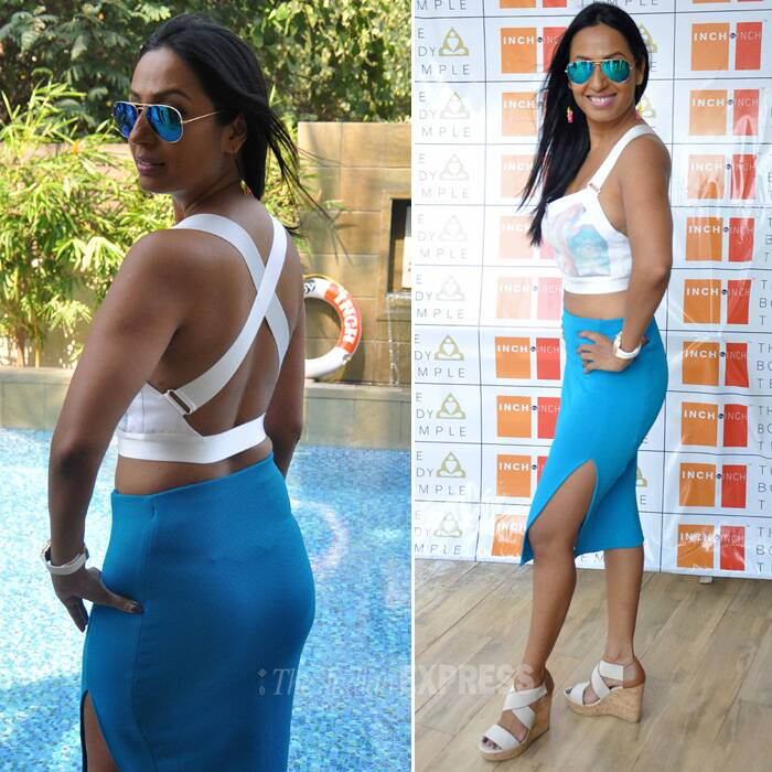 The former 'Bigg Boss' starlet was smoking hot in an aqua blue skirt with a cross-backed crop top. (Photo: Varinder Chawla)