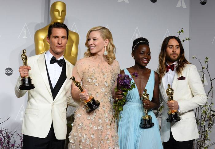 "Perfect Pic: Matthew McConaughey, holds his award for best actor for his role in ""Dallas Buyers Club"", Cate Blanchett holds her award for best actress in ""Blue Jasmine"", Lupita Nyong'o holds her award for best supporting actress for ""12 Years a Slave,"" and Jared Leto holds his award for best supporting actor in ""Dallas Buyers Club"" in the press room during the Oscars at the Dolby Theatre. (AP)"