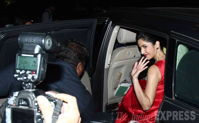 Time to say tata ... Katrina sits in her car as she readies to leave. (Photo: Varinder Chawla)