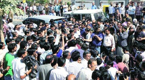 Arvind Kejriwal in Ahmedabad on Friday. (Javed Raja)