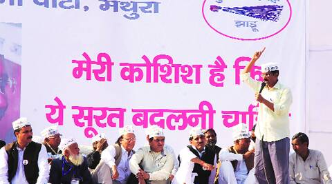 Kejriwal at the rally in Mathura on Sunday. Gajendra Yadav