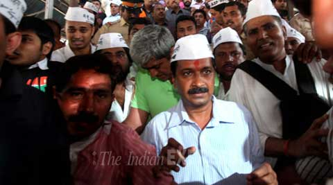 An FIR was lodged against Arvind Kejriwal for causing chaos at Mumbai airport. (IE Photo)