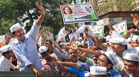 AAP chief Arvind Kejriwal meeting supporters at a roadshow in Nagpur on Friday. (PTI)