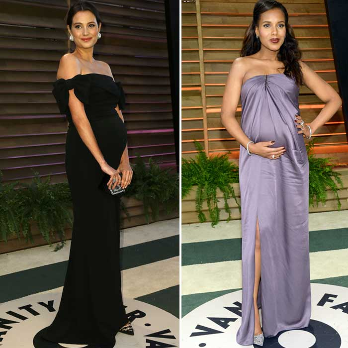Baby bellies at Vanity! Kerry Washington and Emma Heming look great with the baby bump at the Oscars Vanity party. (Reuters)