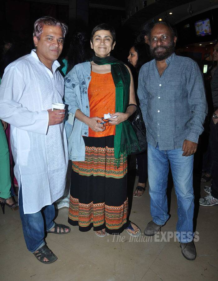 Filmmaker Ketan Mehta and wife Deepa Sahi pose for a picture along with a friend. (Photo: Varinder Chawla)
