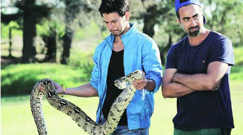 Rajneish Duggal with Ranvir Shorey on the sets of Khatron Ke Khiladi Season Five  (left) Rohit Shetty with Mughda Godse