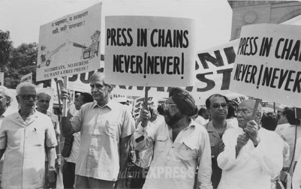 In this picture Ramnath Goenka, Khushwant Singh, Kuldip Nayyar at a protest. (Express archive photo)