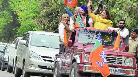Campaign trail: During the road show of BJP candidate Kirron Kher in Sector 42, Chandigarh, on Thursday
