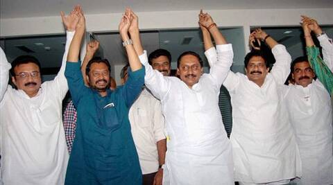 Reddy with supporters in Hyderabad on Thursday. (PTI)