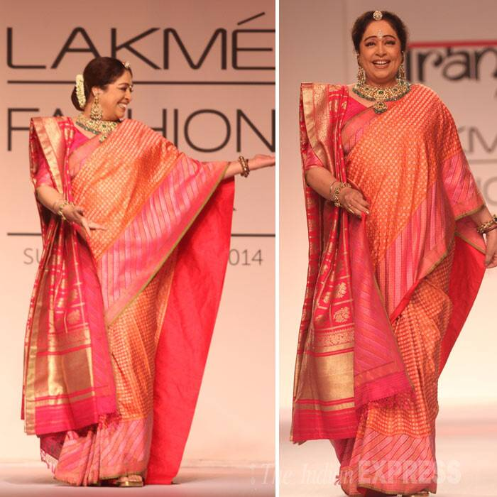 Day 3 of the ongoing Lakme Fashion Week Summer/Resort 2014 saw veteran actress Kirron Kher and actor Purab Kohli walk the ramp. <br /> Kirron Kher who was last seen in 'Total Siyappa' looked lovely and elegant as she show stopped for designer Gaurang Shah. (Photo: Varinder Chawla)