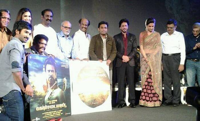 Veteran directors K Balachandar, S P Muthuraman, Shankar, K S Ravi Kumar and lyricist Vairamuthu were also present during the function at Sathyam Cinemas.  (Photo: Facebook)