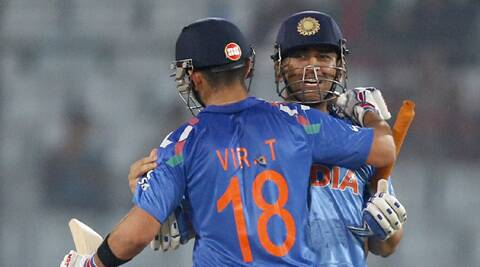 India captain MS Dhoni and Virat Kohli after their win over Bangladesh on Friday. (AP)