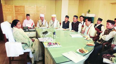 Mamata Banerjee meets tribal leaders of Darjeeling in Kolkata on Saturday. PTI
