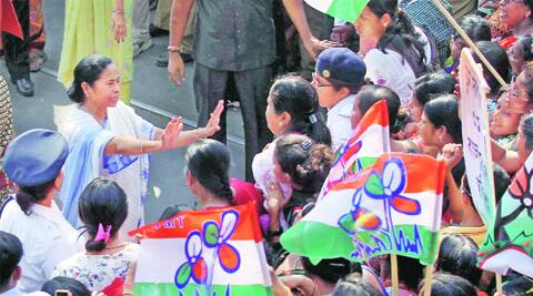 Chief Minister Mamata Banerjee at a rally to mark International Women's Day in Kolkata on Saturday. PTI