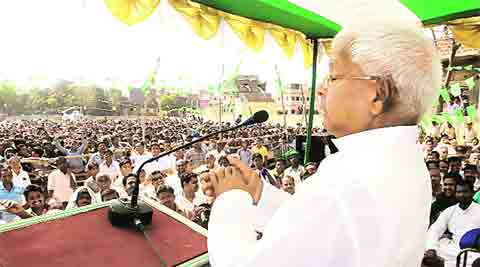 Lalu addresses the public meeting and (inset) Misa Bharati, his daughter and candidate.Ravi S Sahani