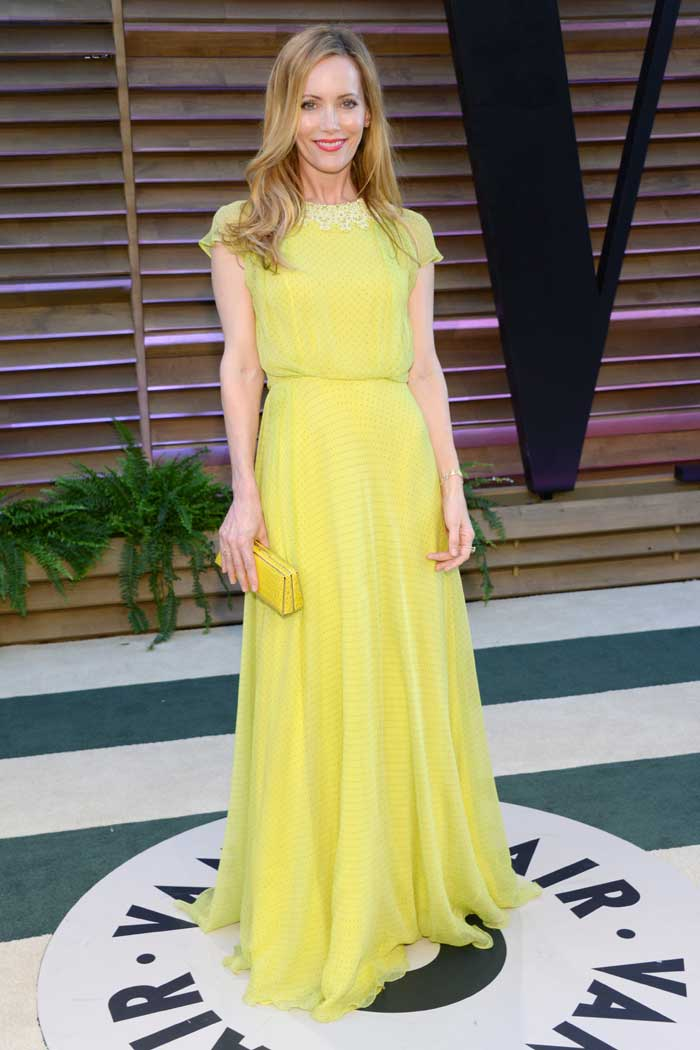 Leslie Mann was bright in a yellow dress. (AP)