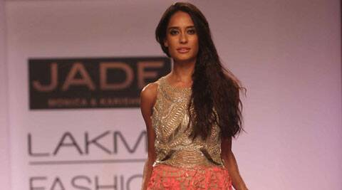 Lisa Haydon walked the ramp for Monica Shah and Karishma Swali.