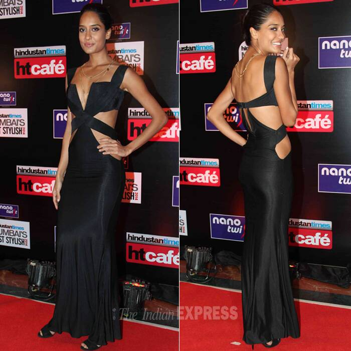 Actress-model Lisa Haydon cut a svelte figure in a Shivan & Narresh dress with extensive cutout. She accessorised her look with a simple golden necklace and opted to tie her hair in a tight bun. We like! (Photo: Varinder Chawla)