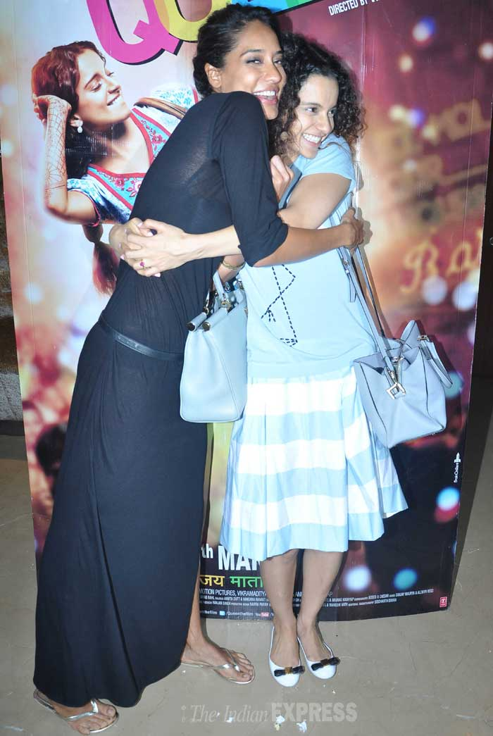 Lead actress of soon-to-release flick 'Queen', Kangana Ranaut along with her costar Lisa Haydon attended a special screening of their film. (Photo: Varinder Chawla)