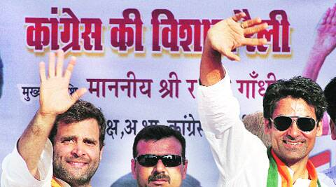Rahul Gandhi with Mohammad Kaif at Pratapgarh rally on saturday. Vishal Srivastav