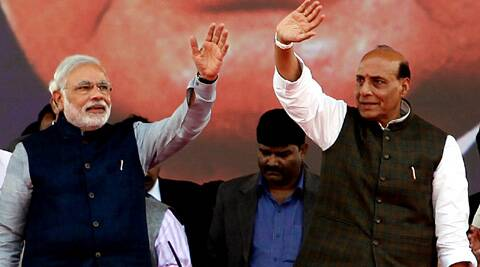 Narendra Modi along with Party national President Rajnath Singh at Vijay Shankhnand Mega rally at Rama bai Rally ground in Lucknow on sunday.  Vishal Srivastav