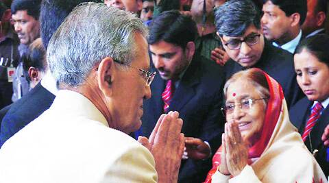 B L Joshi with former President Pratibha Patil after the former took oath as UP Governor for second term, at Governor House in Lucknow on Thursday.