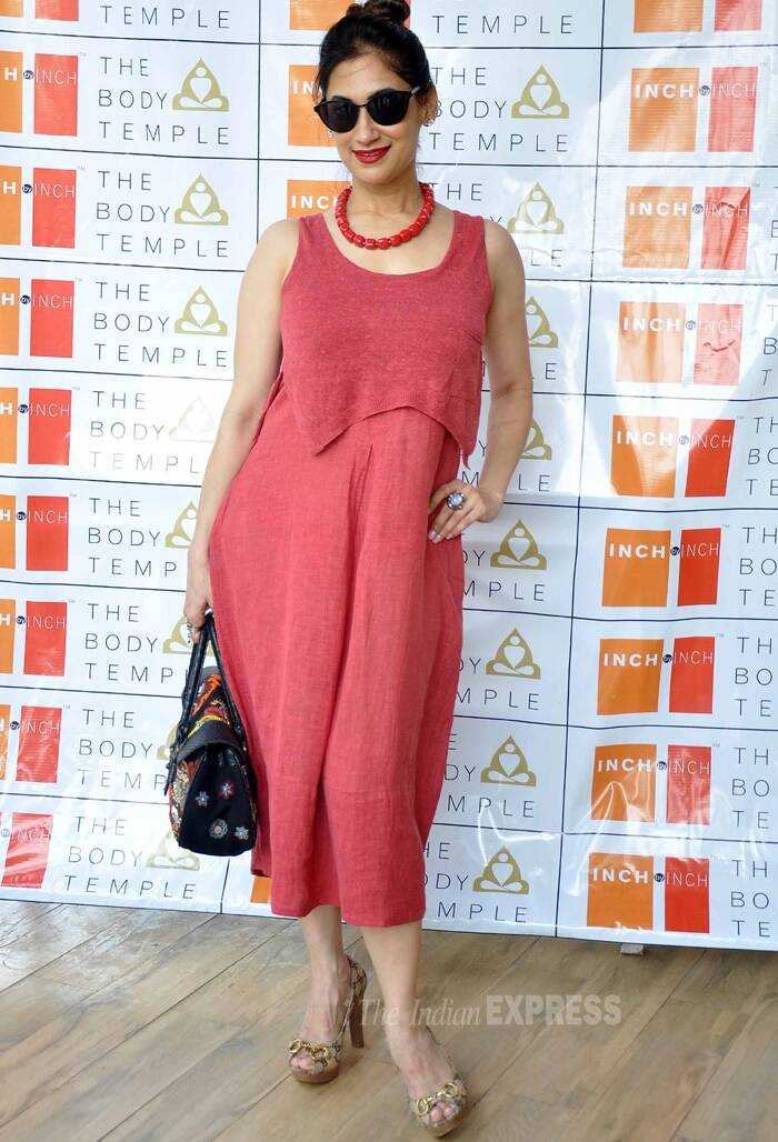 Lucky Morani was cool in a rust coloured summer outfit with matching beads. (Photo: Varinder Chawla)