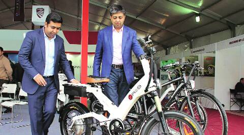 A hi-end electri bike-cum-bicycle, costing Rs 2 lakh,  on display during the Cycle Expo. Gurmeet Singh