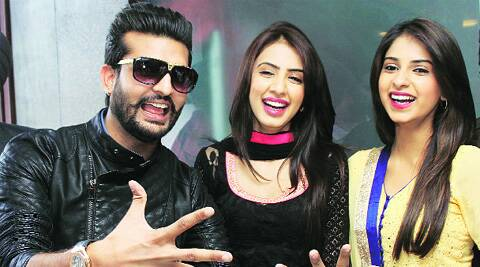 Actors Yuvraj Hans, Avantika Hundal and Swati Kapoor in Ludhiana on Tuesday.