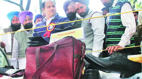 Bags and shoes made from emu leather on display at the Pashu Palan Mela in Ludhiana on Saturday. Gurmeet Singh