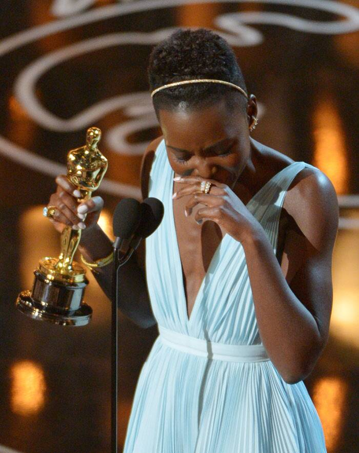 Lupita Nyong'o got emotional when she took the stage to receive her Best Supporting Actress Oscar for '12 years a Slave'. The actress thanked everyone from her director to the Yale School of Drama and her family.