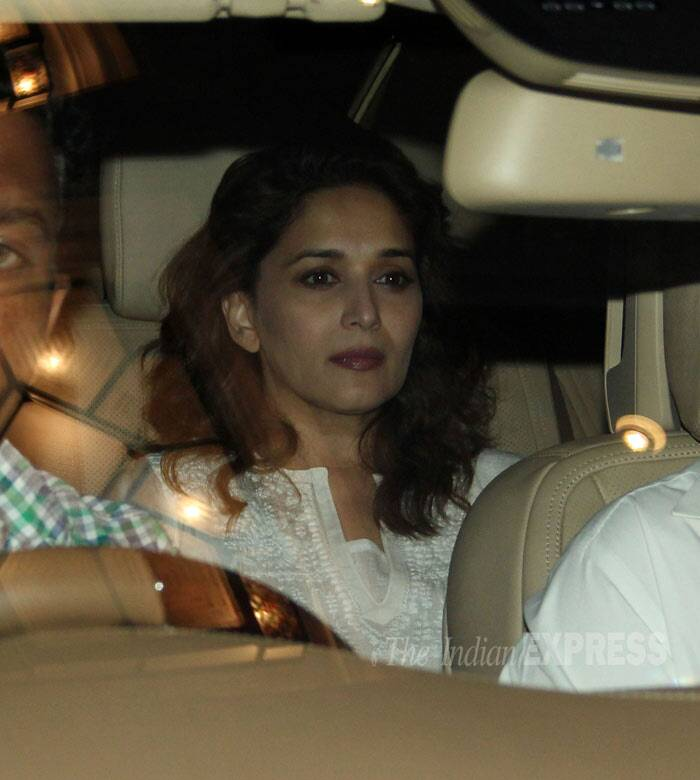 Madhuri Dixit looked somber as she was spotted arriving in her car. (Photo: Varinder Chawla)