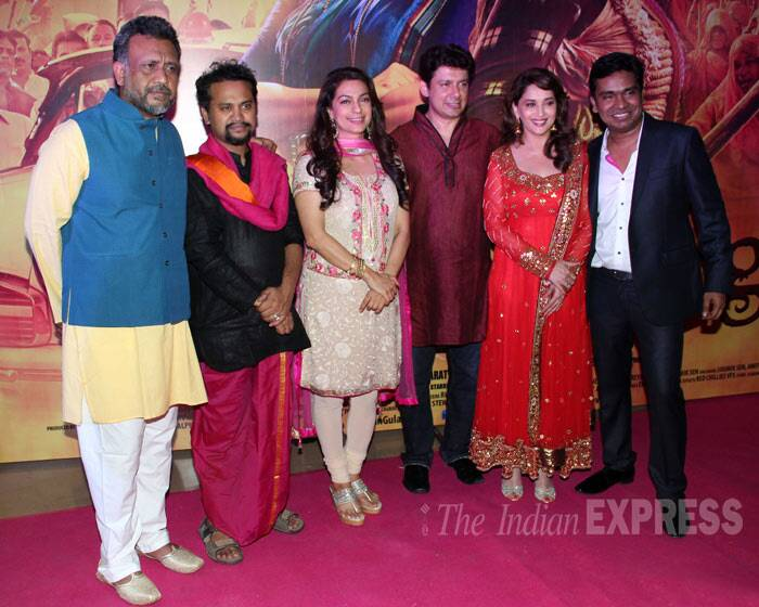The Gulaab Gang team: Producer Anubhav Singh, director Soumik Sen pose with their lead actresses Juhi Chawla and Madhuri Dixit. Also seen here is Mushtaq Shaikh and Dr. Siriram Nene. (Photo: Varinder Chawla)