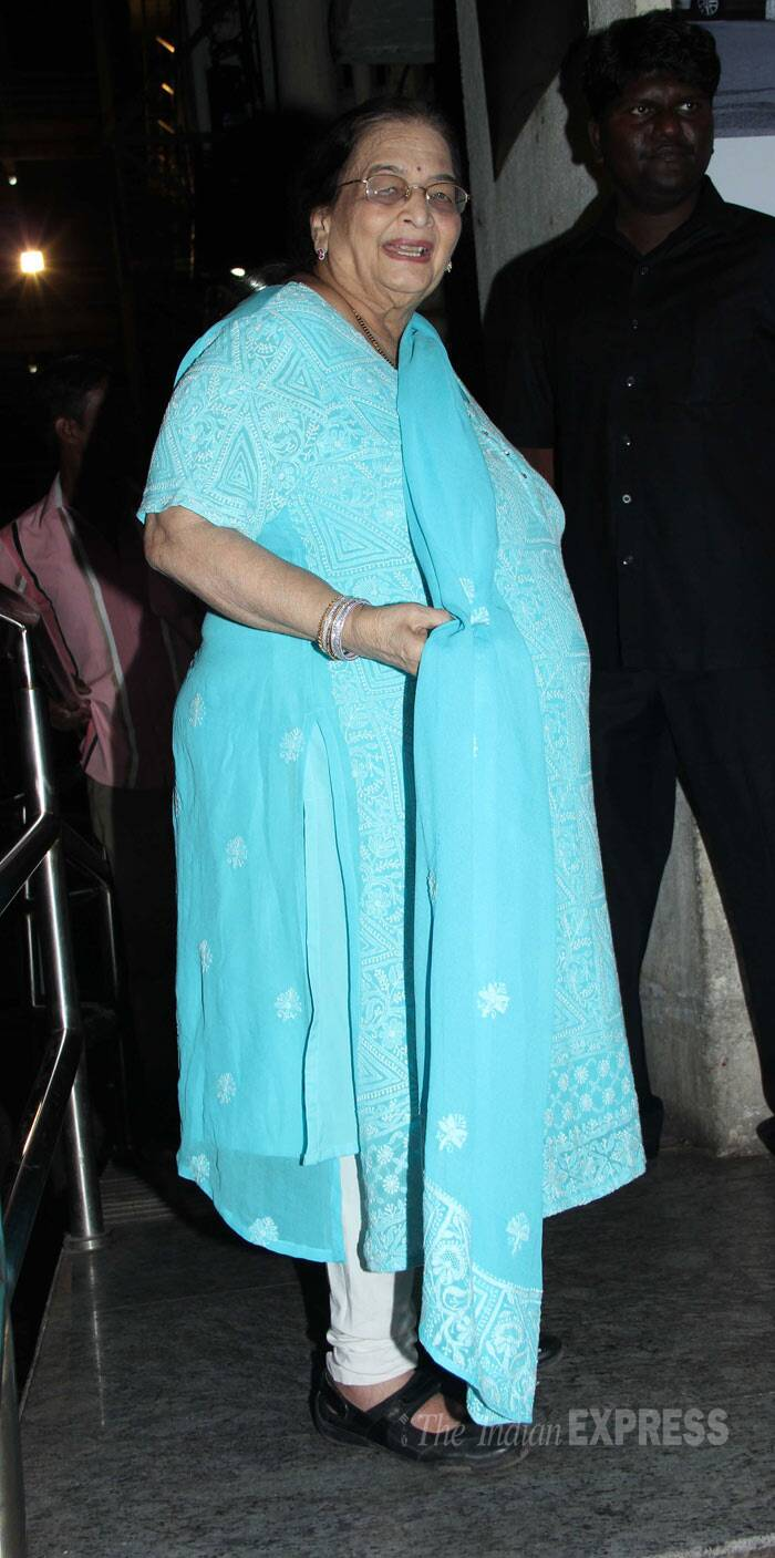 Madhuri Dixit's mother Snehlata Dixit also attended the screening to watch her daughter's performance. Madhuri was last seen on screen in a special song in Ranbir Kapoor's 'Yeh Jawaani Hai Deewani'. (Photo: Varinder Chawla)