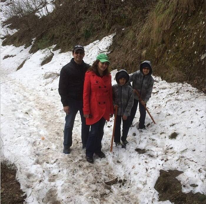 After the release of 'Dedh Ishqiya' and 'Gulaab Gang', actress Madhuri Dixit Nene is spending quality time with her doctor husband Sriram Nene, sons Raayan and Arin. The actress posted a picture of a family hiking trip in Simla recently on Instagram. Madhuri is taking a well deserved break! <br /><br /> A look at other Bollywood celebs. (Photo: Instagram)