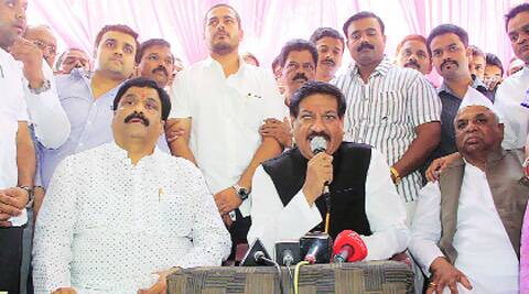 Prithviraj Chavan and Vinayak Nimhan on Wednesday. (Photo: Deepak Aawle)