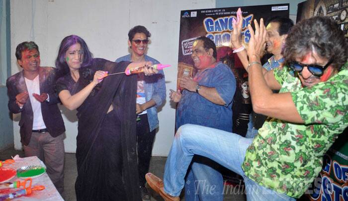 Mahie Gill, Sharman Joshi, Chunky Pandey along with the entire 'Gang of Ghosts' had a blast as they celebrated holi on Thursday (March 13). (Photo: Varinder Chawla)