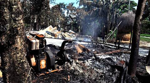 A burnt house in the Malipara village in riot-hit Chirang district of Assam. (PTI)