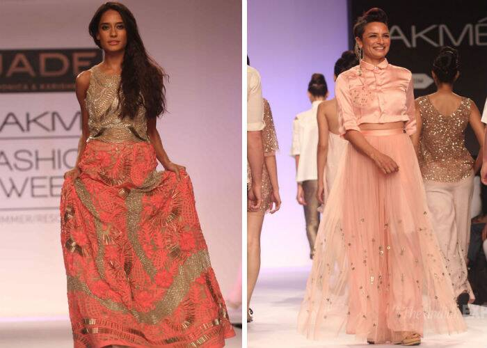 Model-turned-actress Lisa Haydon walked the ramp on Day 2 of the ongoing Lakme Fashion Week Summer/Resort 2014 along with Farhan Akhtar's wife, celebrity hairstylist Adhuna Akhtar.  (Photo: Varinder Chawla)