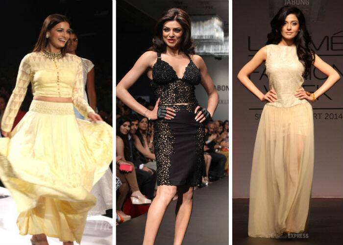 Bollywood beauties Dia Mirza, Sushmita Sen and Amrita Rao turned showstoppers on Day 3 of the ongoing Lakme Fashion Week Summer/Resort 2014.