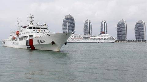 The China Maritime Safety Administration (MSA) ship Haixun-31 leaves after a brief stop in Sanya in southern China's Hainan province. (AP Photo)