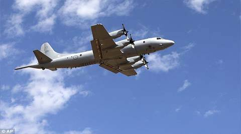 A Royal Australian Air Force AP-3C Orion takes off at RAAF Pearce Base to join the search for the missing Malaysia Airlines flight MH370 in Perth. (AP)
