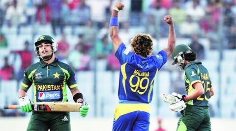 Umar Akmal's wicket in the 50th over gave Malinga his second five-for against Pakistan in this tournament. REUTERS
