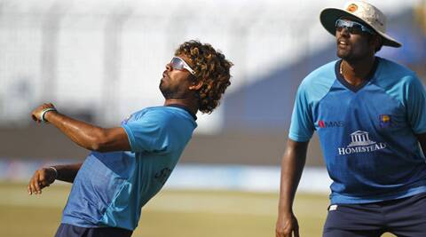 Lasith Malinga, left, and Thisara Perera attend a training session ahead of their Twenty20 Cricket World Cup semi-final against New Zealand in Chittagong. (AP)