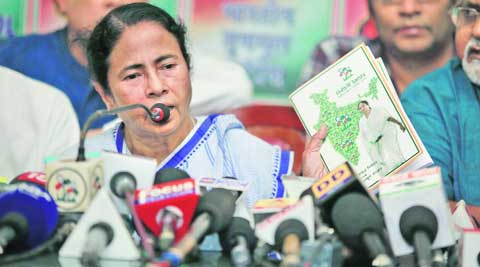 Mamata Banerjee releases TMC election manifesto at her Kalighat residence on Saturday.