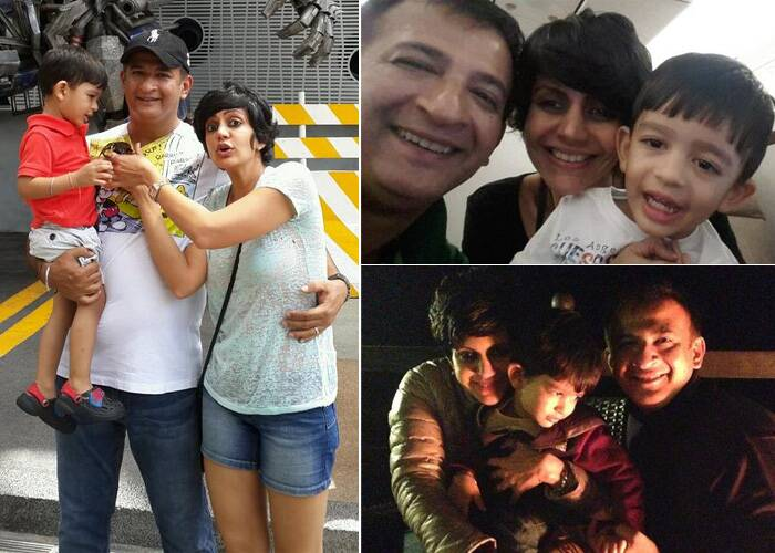 Actress-model-designer Mandira Bedi is a busy mom. But her photos with her son also shows Mandira is a loving mommy. Mandira, who is married to director-producer Raj Kaushal, has a three-year-old son Vir. (Photo: Twitter)